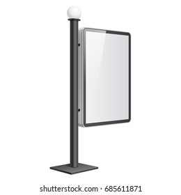 Realistic  light box. Advertising Stand template on white background. 3D illustration