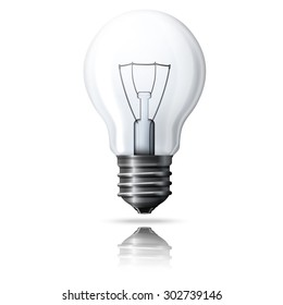 Realistic light bulb isolated on white background with reflection.