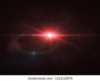 Realistic light flare on black background