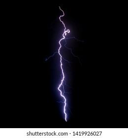 Realistic lightning isolated on black background for design element. Electricity. Natural light effect, bright glowing.