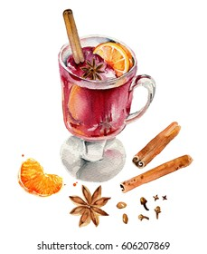 Realistic looking glass of mulled wine with spices. Mulled wine set with glass of drink and hand drawn ingredients.