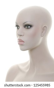 Realistic mannequin head and torso - Angled side view