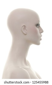 Realistic mannequin head and torso - Side view