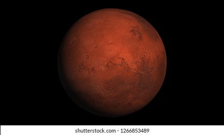 Realistic Mars in space. Texture map courtesy of NASA.
