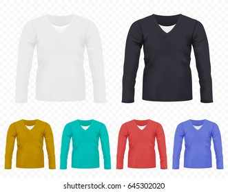 Realistic  Men T-shirt with long sleeves set. Full editable different colors tshirt collection.