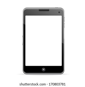 Realistic mobile phone with blank screen