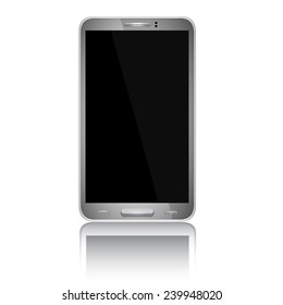 Realistic mobile phone with blank screen isolated on white background.