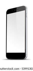 Realistic mobile phone with blank screen and shadows isolated on white background. 3D illustration.