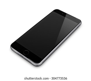 Realistic mobile phone iphon style mockup with blank screen isolated on white background. Highly detailed illustration.