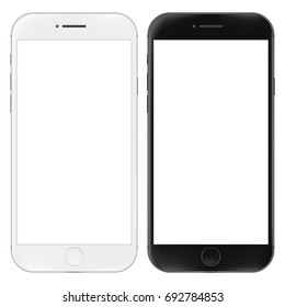 Realistic mobile phone. Smartphone 3d illustration isolated on white background. Graphic concept for your design