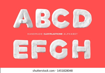 Realistic Modelling Clay putty, plasticine handmade lettering alphabet for kids Isolated A, B, C, D, E, F, G, H Letters  Typography