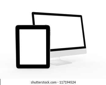 Realistic and modern tablet and monitor device with blank screen, isolated on white background.