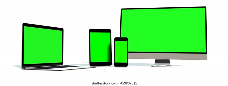 realistic Monitor laptop tablet and phone set - green screen - 3d render