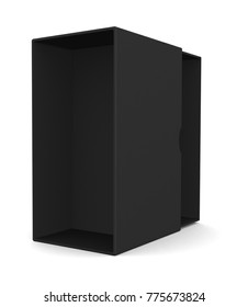 Realistic open black blank box for design and logo isolated on white background. 3d illustration
