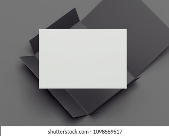 Realistic opened black envelope with white paper card on dark grey background, 3d rendering