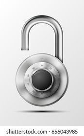 realistic opened padlock. Steel Mechanical Combination lock. Privacy padlock illustration. Enter the PIN code. Electronic open lock icon. Reliable padlock Protection badge. Code combination symbol