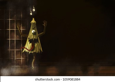 realistic painting japanese umbrella ghost stand on the wood floor on japanese house background.horror background.