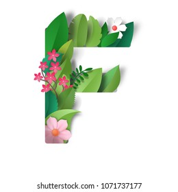 Realistic paper cut design. Letter F of leaves and flowers.