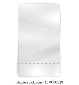 Realistic paper shop receipt. Illustration of shop terminal bill on white background