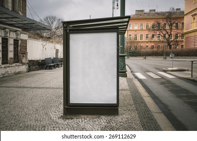 Realistic photo blank. Billboard on bus stop with the texture of the poster and highlights. For your advertisement or graphic design