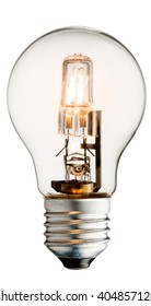 Realistic photo image of a turned on halogen light bulb isolated on a white background and with a clipping path