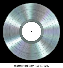 Realistic Platinum Vinyl Record On Black Background. 3D Illustration.