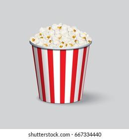 Realistic popcorn bucket isolated on grey background. Raster copy.