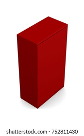 Realistic red blank box isolated on white background. 3d illustration