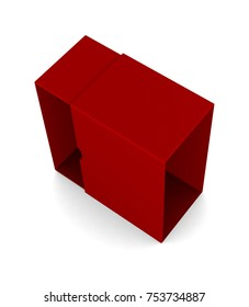 Realistic red blank open box isolated on white background. 3d illustration