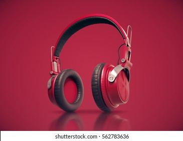 Realistic Red Modern headphones on red background. 