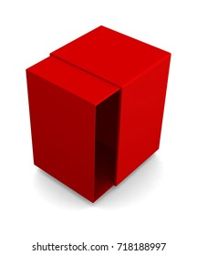 Realistic red open box isolated on white background. 3d illustration