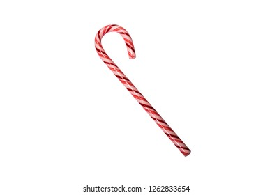 A realistic red and white Christmas candycane isolated on a white background