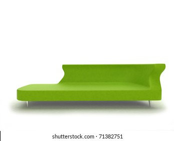 realistic render of modern green sofa isolated on white