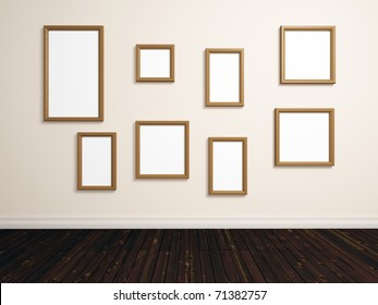 realistic render of room with different sized empty photo frames on white wall