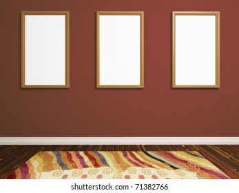 realistic render of  room with three photo frames on brown wall