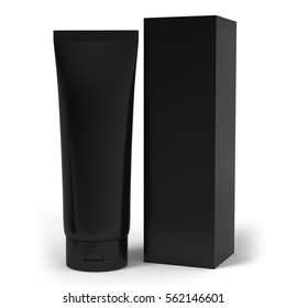 Realistic rendering of blank black cosmetics tubes and box packaging isolated on white background. 3D Illustration.