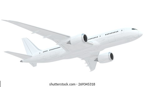 A realistic rendering of a white airplane isolated on white background.   The airplane has slight reflections of clouds giving it a realistic effect.