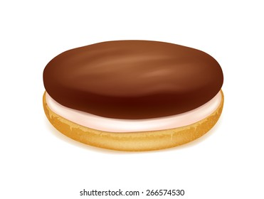 Realistic sandwich cookie. Chocolate and wheat taste. Sweet biscuit with cream.