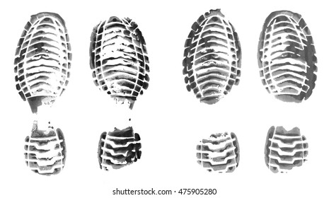 Realistic shoe print ink stamp. Footprint set isolated on white background.