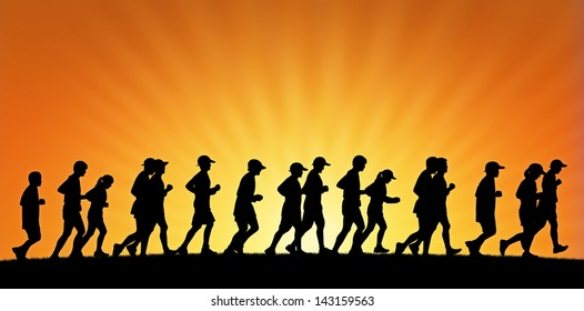 realistic silhouette of a big group of people running on sunset background, panoramic view