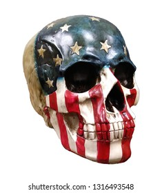 Realistic skull painted Red White and Blue