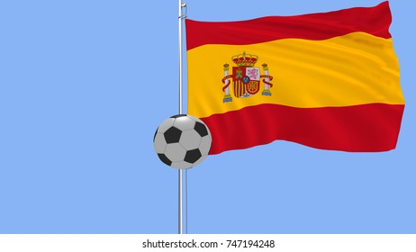 A realistic soccer ball flies around the realistically fluttering flag of Spain on a blue background, 3d rendering