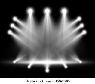 Realistic stage lighting. Group of bright projectors isolated on black background. Special light effect
