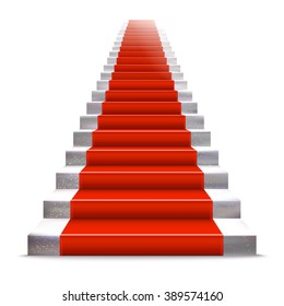 Realistic stone ladder with red carpet. Luxury style Raster illustration. Staircase concept.