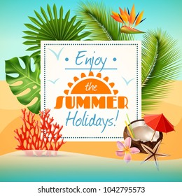 Realistic summer party poster with coconut cocktail and tropical plants on beach  illustration