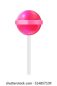 Realistic Sweet Lollipop Candy Isolated on White Background.  Illustration