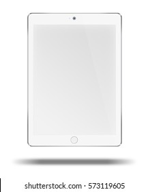 Realistic tablet computer with blank screen isolated on white background. 3D illustration
