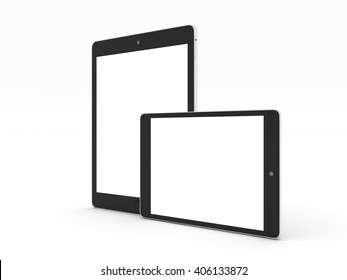 Realistic tablet computer and mini tab mockup with white blank screen for design isolated on white background. Highly detailed. 3d illustration.