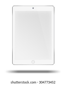 Realistic tablet computer pc in ipade style mockup with blank screen isolated on white background. Highly detailed illustration.