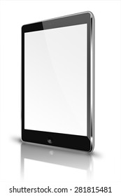 Realistic tablet computer style mockup with blank screen and reflection isolated on white background. Highly detailed illustration.